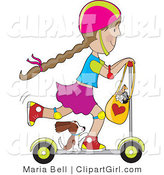 Clip Art of a Puppy Riding on a Scooter with a Little Girl - Royalty Free by Maria Bell
