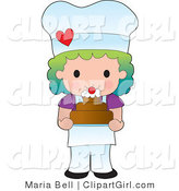 Clip Art of a Rainbow Haired Girl Chef or Baker Holding a Freshly Baked Cake Topped with Cream and a Cherry by Maria Bell