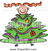 March 18th, 2014: Clip Art of a Red Haired Girl with a Christmas Tree Body by Prawny