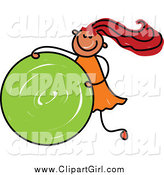 Clip Art of a Red Haired Stick Girl Rolling a Green Circle by Prawny