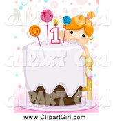 Clip Art of a Red Haired White First Birthday Girl Reaching Towards the Candle on Her Cake by BNP Design Studio