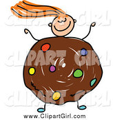 Clip Art of a Red Haired White Girl with a Cookie Body by Prawny
