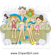 January 16th, 2015: Clip Art of a Relaxed White Family Sitting on a Couch, Eating Popcorn and Watching a Movie on Their Couch by BNP Design Studio