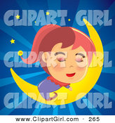 Clip Art of a Relaxing Girl in Pajamas, Sleeping Soundly on a Crescent Moon in a Bursting Blue Night Sky by NoahsKnight
