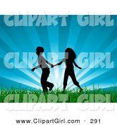 Clip Art of a - Royalty FreeBlack Silhouetted Boy and Girl Holding Hands and Running Through Lush Green Grass with a Bursting Blue Sky Background by KJ Pargeter