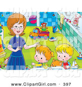 Clip Art of a - Royalty FreeChildren Getting Help from Mom in a Bathroom by Alex Bannykh