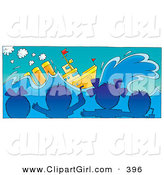 Clip Art of a - Royalty FreeGroup of Blue Silhouetted Children Watching a Movie About a Ship in a Movie Theater by Alex Bannykh
