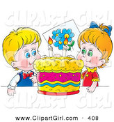 Clip Art of a - Royalty FreeHappy Boy and Girl, Twins, Smiling While Preparing to Blow out Candles on Their Bright, Colorful Birthday Cake by Alex Bannykh