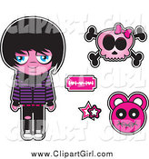Clip Art of a Sad Emo Kid with a Pink Skull and Design Elements by Vitmary Rodriguez