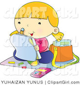 Clip Art of a School Girl Coloring - Royalty Free by YUHAIZAN YUNUS