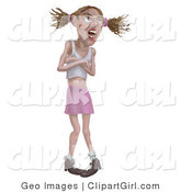 Clip Art of a Screaming Girl Throwing a Temper Tantrum by AtStockIllustration
