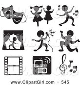 Clip Art of a Set of 9 Music and Entertainment Icons by Alexia Lougiaki