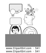 Clip Art of a Set of Educational Icons with Thought Bubbles, a Girl Thinking, Genius Head and Albert Einstein by C Charley-Franzwa