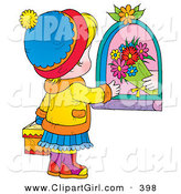 Clip Art of a Shopkeeper Giving Flowers to a Little Girl Carrying a Gift on Mothers Day by Alex Bannykh