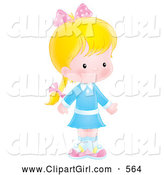 Clip Art of a Shy Blond Caucasian Child Girl in a Blue Dress, Wearing a Pink Bow Atop Her Braid by Alex Bannykh