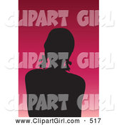 Clip Art of a Silhouetted Avatar Girl with Her Hair in Pig Tails, on a Gradient Pink Background by KJ Pargeter