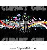 Clip Art of a Silhouetted Couple Dancing over Colorful Waves, Stars, Butterflies and Halftone over Black by KJ Pargeter