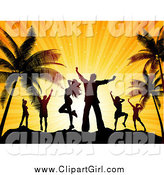 Clip Art of a Silhouetted Dancers over an Orange Sunset on a Tropical Beach by KJ Pargeter