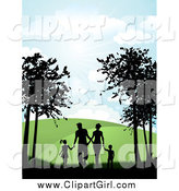 Clip Art of a Silhouetted Family Holding Hands While Walking on a Path by KJ Pargeter