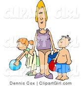 Clip Art of a Single Mother Trying to Have Fun at the Beach with Her Children by Djart