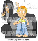 Clip Art of a Sister Sneaking up on Her Brother While He Watches a Scary Movie by BNP Design Studio