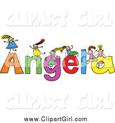 Clip Art of a Sketch of Girls Playing on the Name Angela by Prawny