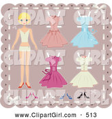 Clip Art of a Skinny Blond Teenage Girl Paper Doll on a Pink Background with Cutout Dresses and Shoes by Melisende Vector