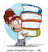 Clip Art of a Smart Hispanic School Girl Carrying a Stack of Books over Blue by Hit Toon