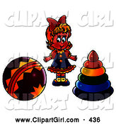Clip Art of a Smiling Blond Girl Standing Between a Ball and Ring Toys by Alex Bannykh