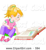 Clip Art of a Smiling Blond Little Girl Sitting on the Floor and Reading a Story Book by Pushkin