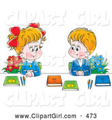 July 24th, 2013: Clip Art of a Smiling Boy and Girl in Uniforms, Sitting with Flowers and Books and Smiling at Each Other by Alex Bannykh