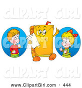 Clip Art of a Smiling Boy and Girl Looking at a Book Character Wearing Glasses by Alex Bannykh