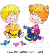 Clip Art of a Smiling Boy and Girl Picking out Sweaters and Socks to Wear for the Next Day by Alex Bannykh