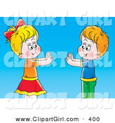 Clip Art of a Smiling Boy and Girl Playing Pat a Cake over a Blue Background by Alex Bannykh