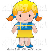 Clip Art of a Smiling Cute Blond Swedish Girl Wearing a Flag of Sweden Shirt by Maria Bell