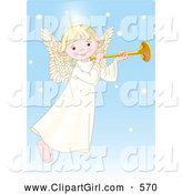 Clip Art of a Smiling Cute, Innocent, Blond Femal Angel with a Halo, Playing a Horn by Pushkin