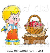 Clip Art of a Smiling Cute Little Blond Girl Snacking on Red Raspberries from a Basket on a Tree Stump by Alex Bannykh