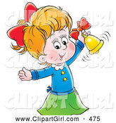 Clip Art of a Smiling Cute Little Girl Ringing a Golden Bell by Alex Bannykh