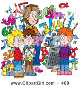 Clip Art of a Smiling Female Math Teacher and Students with a Calculator and Numbers by Alex Bannykh