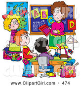 Clip Art of a Smiling Female School Teacher Teaching Students the Alphabet by Alex Bannykh