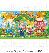 Clip Art of a Smiling Goldilocks Standing Outside a Cabin with TheThree Bears, Mushrooms, Butterflies and Birds by Alex Bannykh