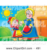 Clip Art of a Smiling Grandmother Greeting Her Grand Daughter Outside on a Sunny Day by Alex Bannykh