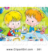 Clip Art of a Smiling Happy Boy and Girl Playing with Bath Toys in a Sink by Alex Bannykh