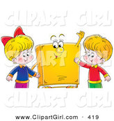 Clip Art of a Smiling Happy Boy and Girl Standing with a Yellow Book Character by Alex Bannykh