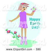 Clip Art of a Smiling Happy Girl Admiring a Butterfly by