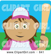 Clip Art of a Smiling Hispanic Girl Batting During a Baseball Game by Dennis Holmes Designs