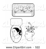 Clip Art of a Smiling Lightbulb Text Box, Girl in Thought and Human Head Brainstorming by C Charley-Franzwa