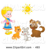 Clip Art of a Smiling Little Blond Girl with a Cat, Mouse and Dog Under a Sun by Alex Bannykh
