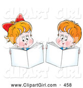 Clip Art of a Smiling Little Boy and Girl Holding up Books While Reading by Alex Bannykh