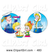 Clip Art of a Smiling Little Boy and Girl Playing with a Boat and Imagining Their Ancestors by Alex Bannykh